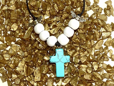 Turquoise Gem Cross Necklace from The Heard Word Collection