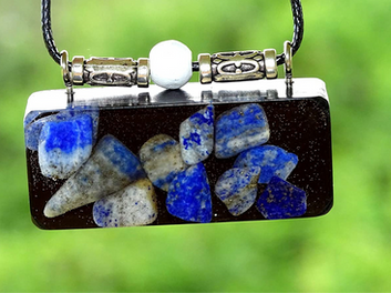 Oblong Lapis Lazuli Orgonite Wisdom Intuition Clarity and Awareness Reiki Pendant Shungite Infused Necklace