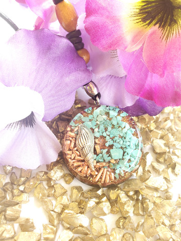 Silver Shell Turquoise Gem Copper Chip Disc Orgonite