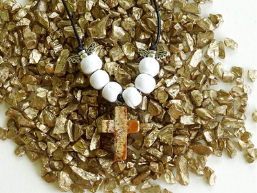 Picture Jasper Gem Cross Necklace from The Heard Word Collection