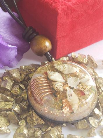 Coil Wrapped Quartz - Sea Shell Disk Orgonite Raw Crystal R