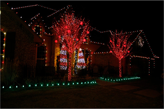Holiday Lighting by Red Valley Landscape & Construction in OKC, Ok