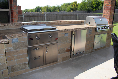 Custom Outdoor Kitchen by Red Valley Landscape & Construction in Oklahoma City