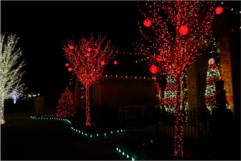 Holiday Lighting by Red Valley Landscape & Construction in Briarcliff, Texas