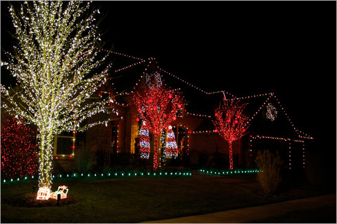 Holiday Lighting by Red Valley Landscape & Construction in Edmond, Ok