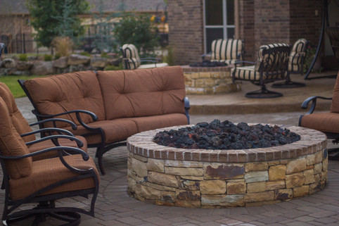 Custom Fire Pits & Fireplaces by Red Valley Landscape & Construction in Mustang, Ok