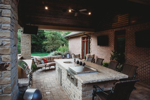Custom Outdoor Kitchen by Red Valley Landscape & Construction in The Village, Ok