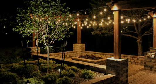 Commercial Landscape Lighting by Red Valley Landscape & Construction in Edmond, Ok