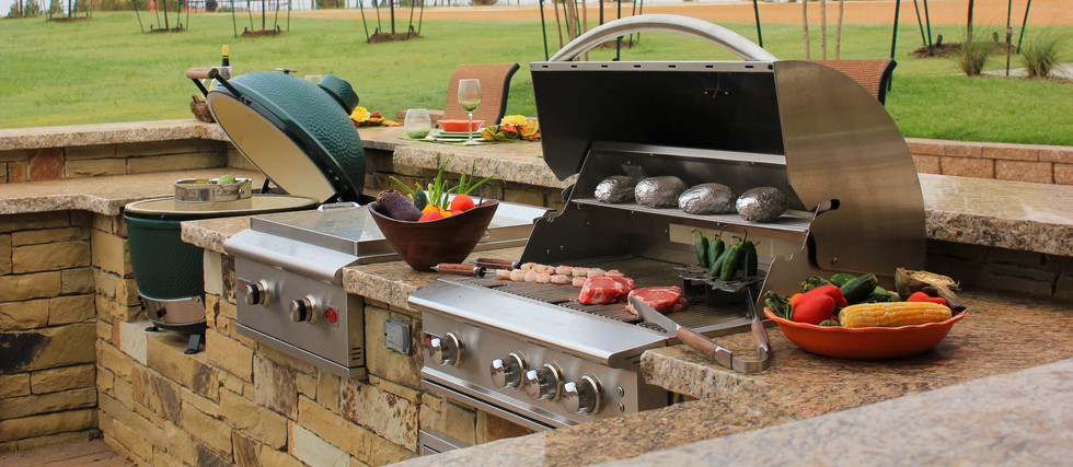 Custom Outdoor Kitchen by Red Valley Landscape & Construction in OKC Metro