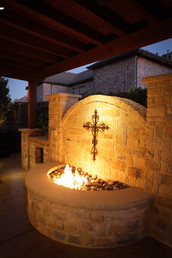 Custom Fire Pits & Fireplaces by Red Valley Landscape & Construction in OKC