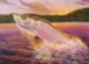 Airborne Everglades tarpon painting by Jorge Martinez