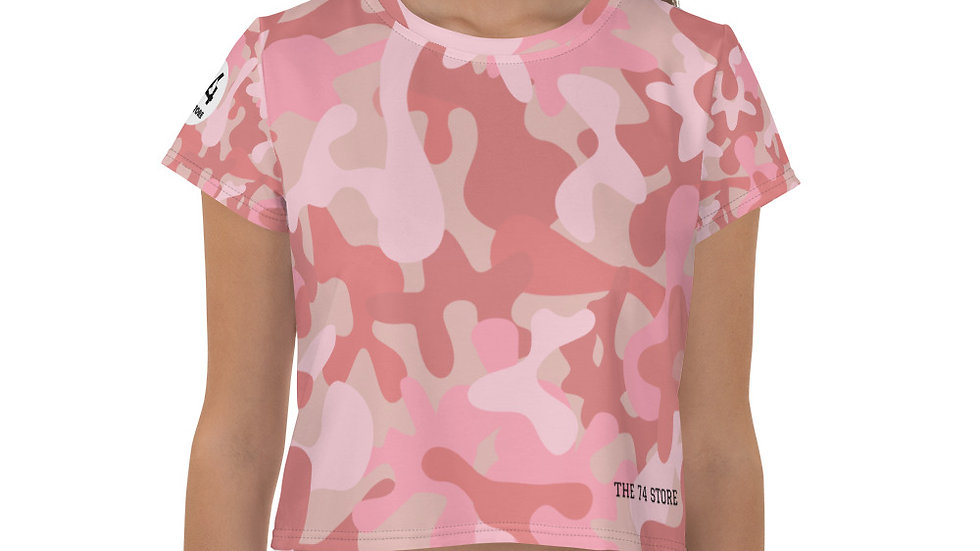 All-Over Print Pink Camouflage Crop Tee