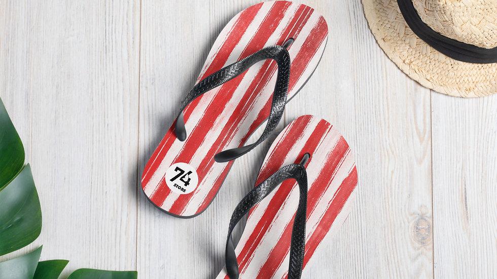Red & White Stripe Flip-Flops
