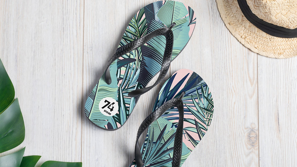 The '74 Store Tropical Leaves Flip-Flops