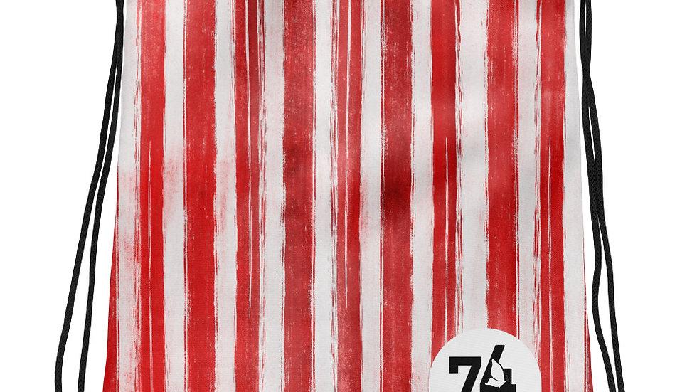 Red & White Stripe Drawstring Bag