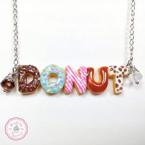 Custom Donut Name Necklace