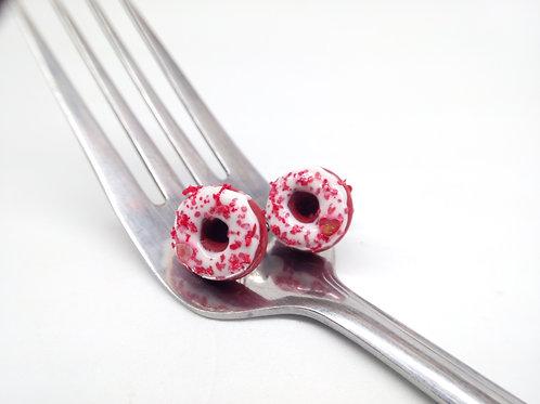Red Velvet Donut Stud Earrings