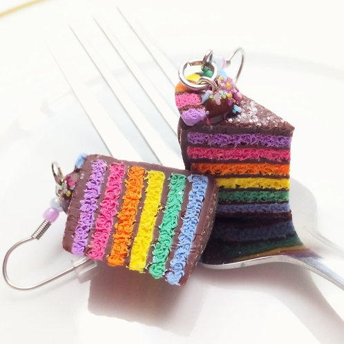 Chocolate Rainbow Cake Earrings