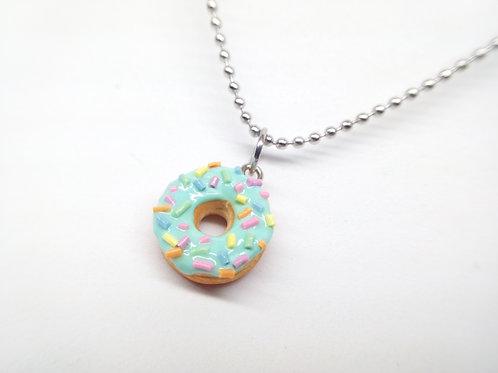 Mint Sprinkle Donut Necklace