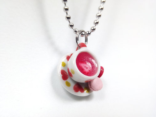 Strawberry Tea and Macarons Necklace