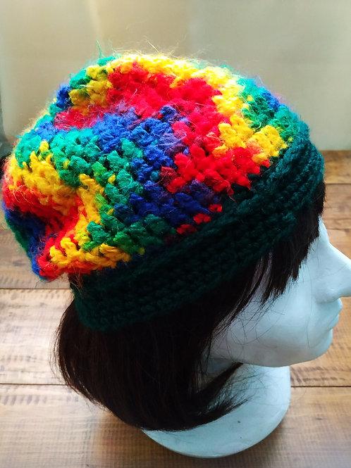 Rainbow Crochet Slouchy Beanie