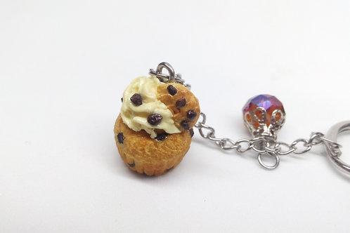 Chocolate Chip Cupcake Keychain