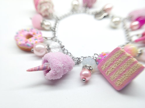 Pink Desserts Charm Bracelet