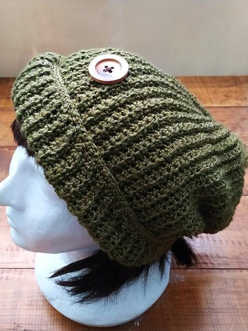 Green Crochet Baggy Hat