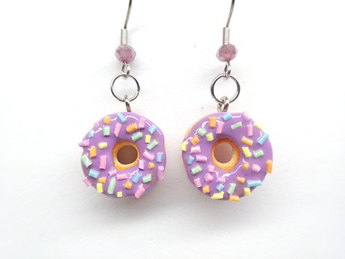 Purple Sprinkle Donut Dangle Earrings