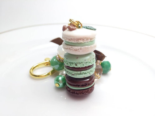 Mint and Chocolate Macaron Purse Charm