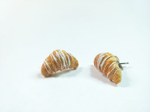 White Croissant Stud Earrings