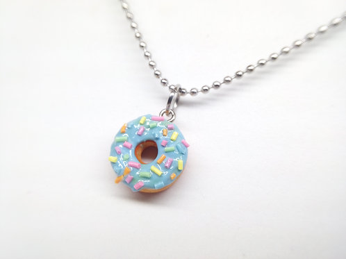 Blue Sprinkle Donut Necklace