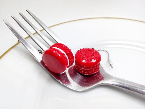 Red Velvet Macaron Earrings