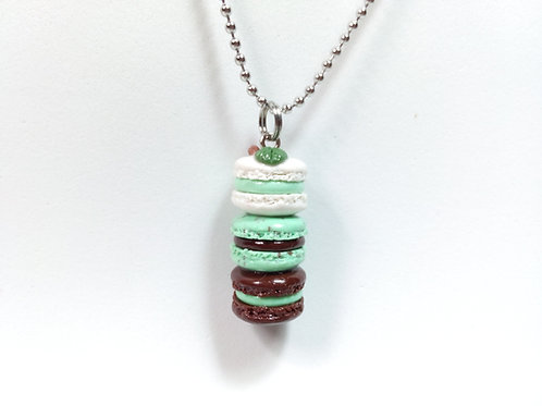 Mint Chocolate Macaron Stack Necklace