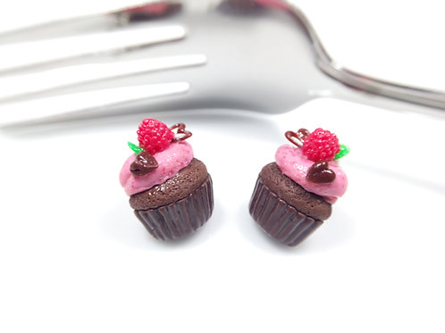 Valentine's Raspberry and Chocolate Cupcake Earrings