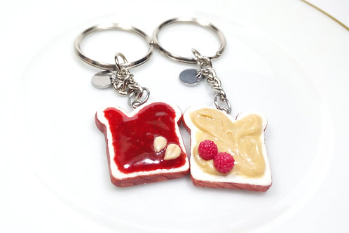 Peanut Butter & Raspberry Jelly Keychains