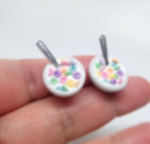 cereal stud earrings, food earrigs