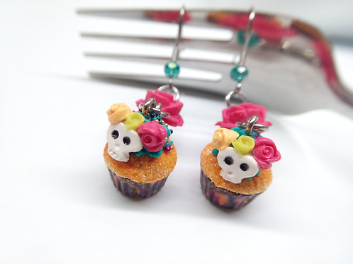 Day of the Dead Cupcake Earrings