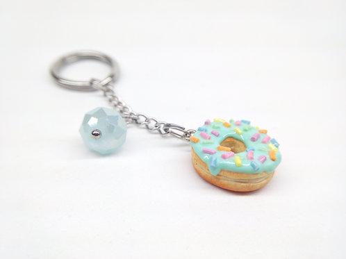 Mint Sprinkle Donut Key Chain