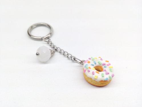 White Sprinkle Donut Key Chain