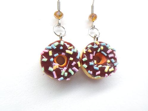 Chocolate Sprinkle Donut Dangle Earrings
