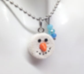 snowman donut, donut charm, polymer clay donut