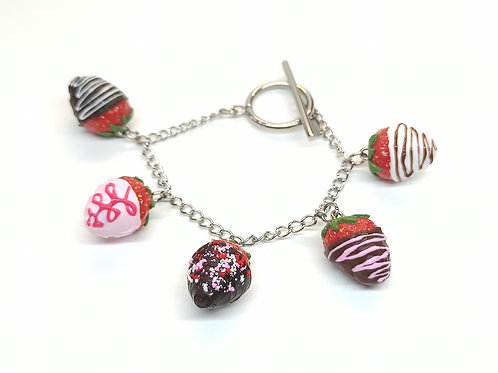 Chocolate Covered Strawberries Bracelet