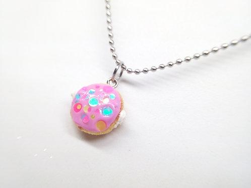 Pink Filled Donut Necklace