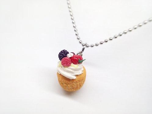 Summer Pavlova Cupcake Necklace