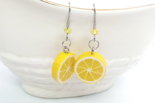 Citrus Fruit Dangle Earrings.