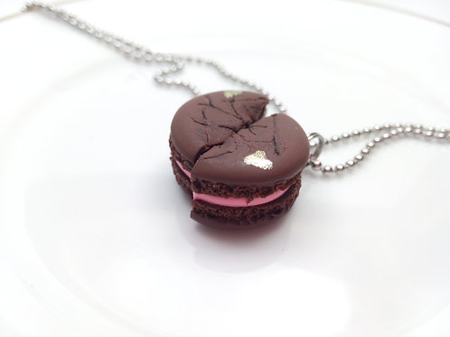 Bff Chocolate Macaron Necklaces