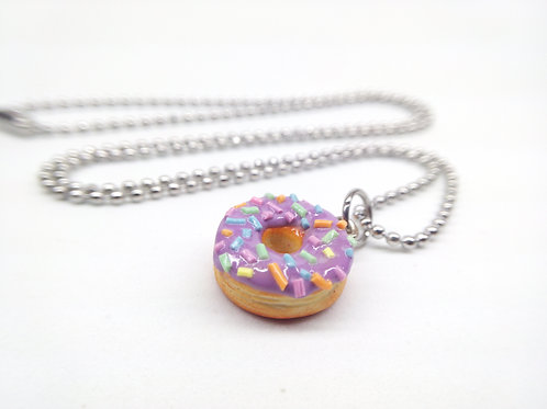 Purple Sprinkle Donut Necklace