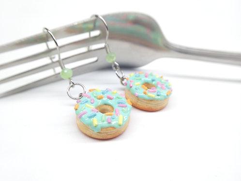 Mint Sprinkle Donut Dangle Earrings