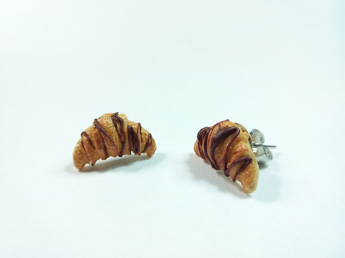 Chocolate Croissant Stud Earrings